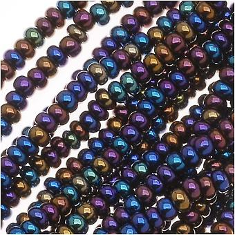 Cuentas de semillas de vidrio checas, 11/0 Round, 1 Hank, Metallic Blue Iris Mix