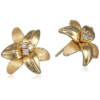 misis, Woman-Earrings March Gardens Silver 925 White Zircons 2 cm - OR08515, Gold