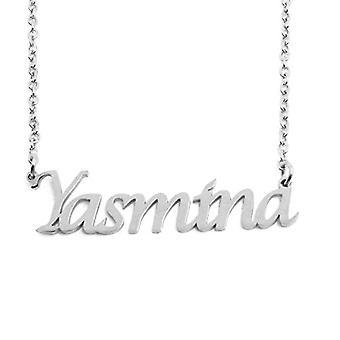 """L Yasmina - Mukautettu nimi säädettävä kaulakoru, hopea värisävy, 16""""- 19"""