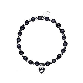 New Beginings Chunky Stacking Bracelet - 16cm + 2cm extender - Noir - Bijoux cadeaux pour femmes de Lu Bella