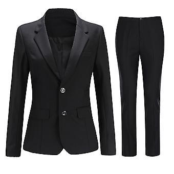 Homemiyn Kadın Klasik Casual Düz Renk Takım İş İnce Takım (üst & pantolon) 4 Renk