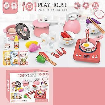 Red kids pretend play kitchen daycare cooking toy with stainless steel cookware pots and pans setcooking utensils x2077