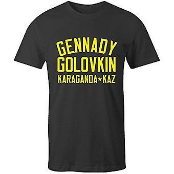 ゲンナジーゴロフキンボクシング伝説のTシャツ黒/黄色