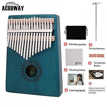 17 Key kalimba mahogany thumb piano mbira natural mini keyboard instrument gift