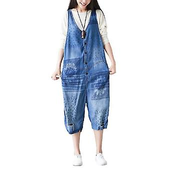 Woman Ripped Bib Cropped Jeans Loose Overalls