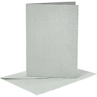 4 A6 parel zilver kaart blanks en enveloppen voor ambachten
