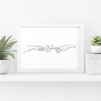 Reaching Hands Line Art Print   Perfect Gift/Decor Piece   A4 with White Frame