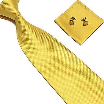 Acessórios para fantasias | Gravata + lenço + abotoaduras-Amarelo