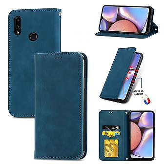 Case For Samsung Galaxy A10s Magnetic Closure Leather Wallet Cover Housse Etui Shockproof - Blue