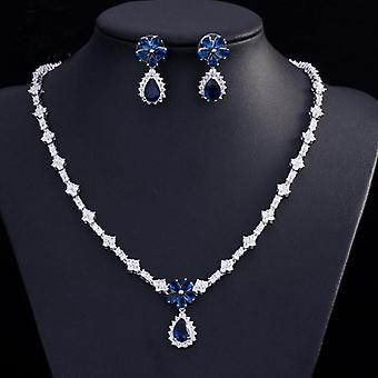 Luxury Bridal Accessories  Jewelry Set Earrings Flower Necklace For Women Bridesmaid Earrings