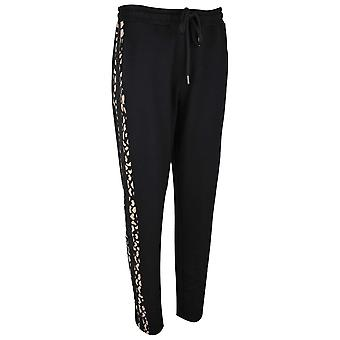 Doris Streich Black Sweat Pant Style Pull On Trousers With Drawstring & Side Panel Detail