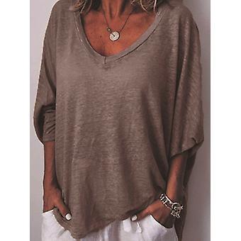 T-shirt sunwashed V-neck Dolman Sleeve Top