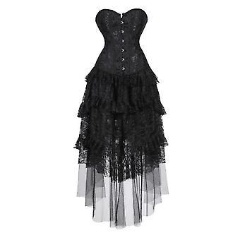 Nők gótikus fűző ruha viktoriánus retro virágos fűző bustier top aszimmetrikus fodros csipke hosszú szoknya szett Plusz