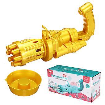 2-in-1 Mehrfarbige elektrische Blasenmaschine und Mini-Lüfter Ein-Knopf-Blase 8-Loch-Ausgang Spielzeug Kinderspiel Geschenk