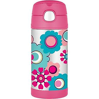 Thermos FUNtainer Straw Stainless steel Hot and Cold Water Drinks Bottle 355ml Floral Design