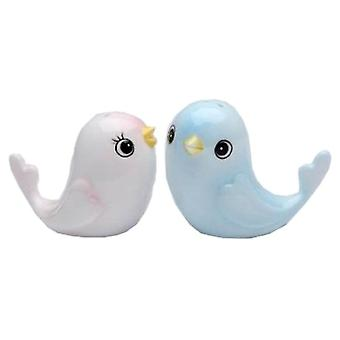 Flights of Fancy Pink and Blue Baby Birds Salt and Pepper Shakers Set