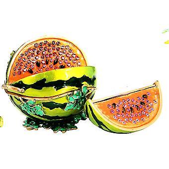 Juicy Watermelon Slice Jeweled Pewter Trinket Box