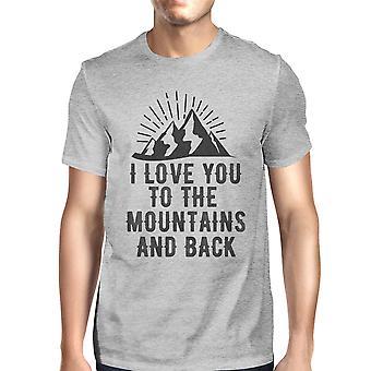 Mountain og tilbage mænd grå bomuld T-Shirt Trendy Grafisk Design