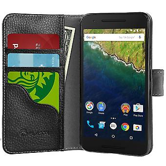 i-Blason Nexus 6P Sythetic Leather Wallet Case - Black