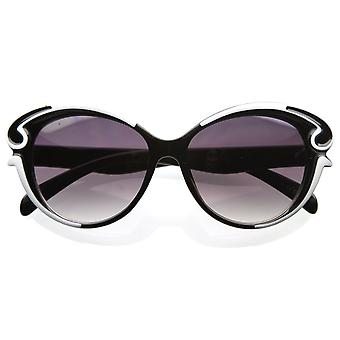 Designer inspirert Butterfly figur barokkstil overdimensjonert mote solbriller