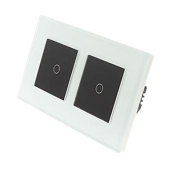 Я LumoS белый стекло Двойная рамка 2 банды 1 способ касания свет переключатель черные вставки