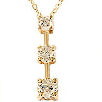 1ct Three Stone Diamond Stick Pendant Yellow Gold