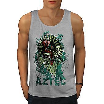 Aztec Skeleton Cool Men GreyTank Top | Wellcoda