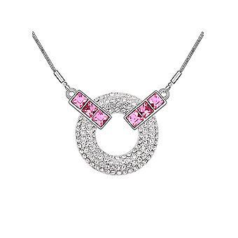 Swarovski Element Rose Crystal Circle necklace 2328