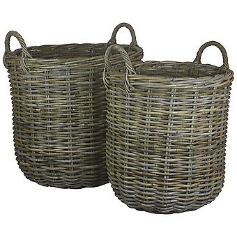 Set of 2 Tall Round Fireside Grey Rattan Log Basket