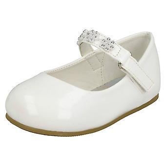 Girls Spot On Diamante Flower Strap Ballerinas H2487 - White Synthetic Patent - UK Size 6 - EU Size 23 - US Size 7
