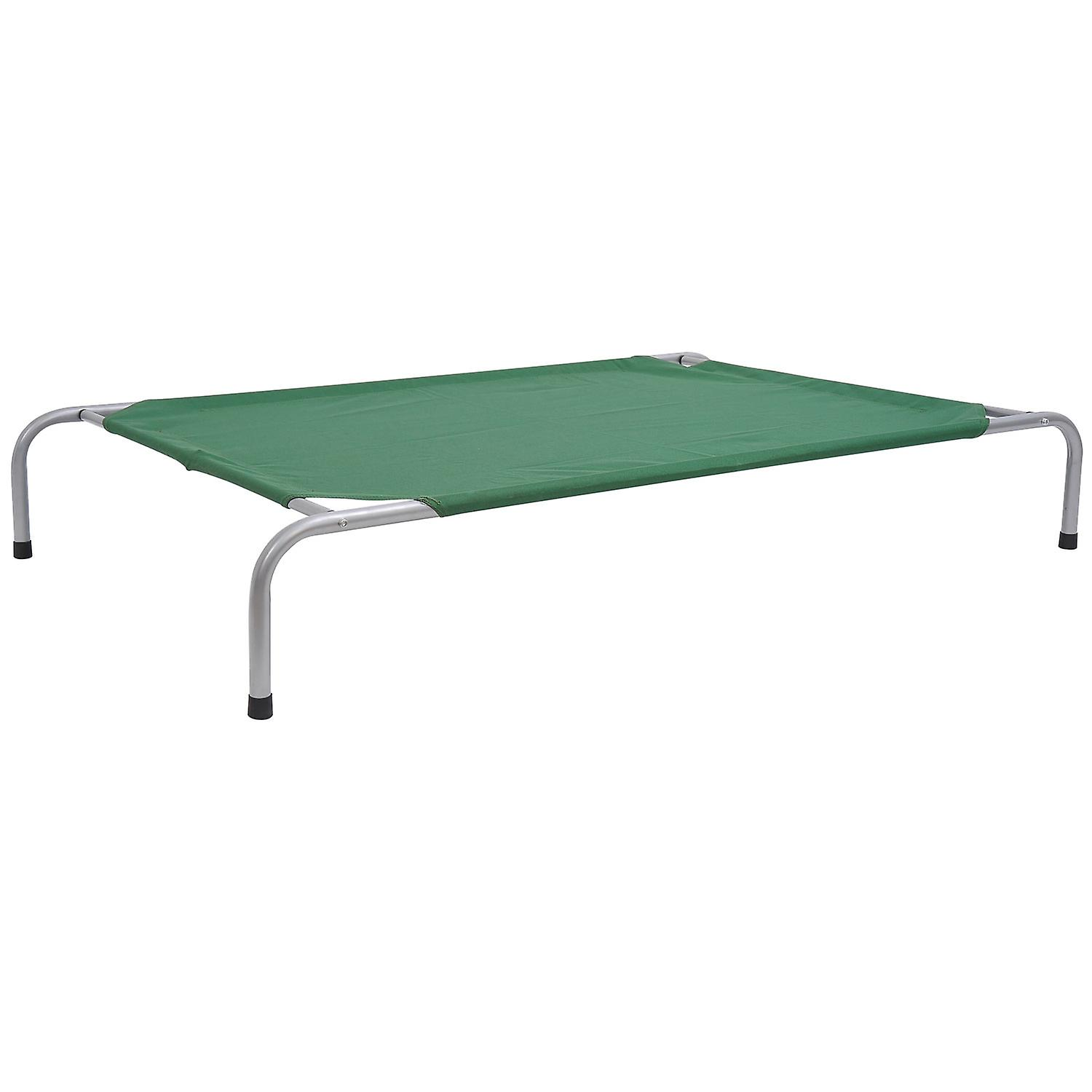 PawHut Dog Elevated Raised Cot Bed Portable Camping Basket - Green Extra Large