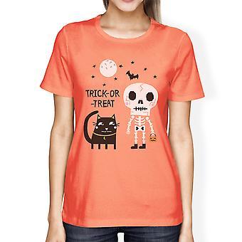 Skeleton Black Cat Womens Peach Cotton Short Sleeve Graphic Shirt