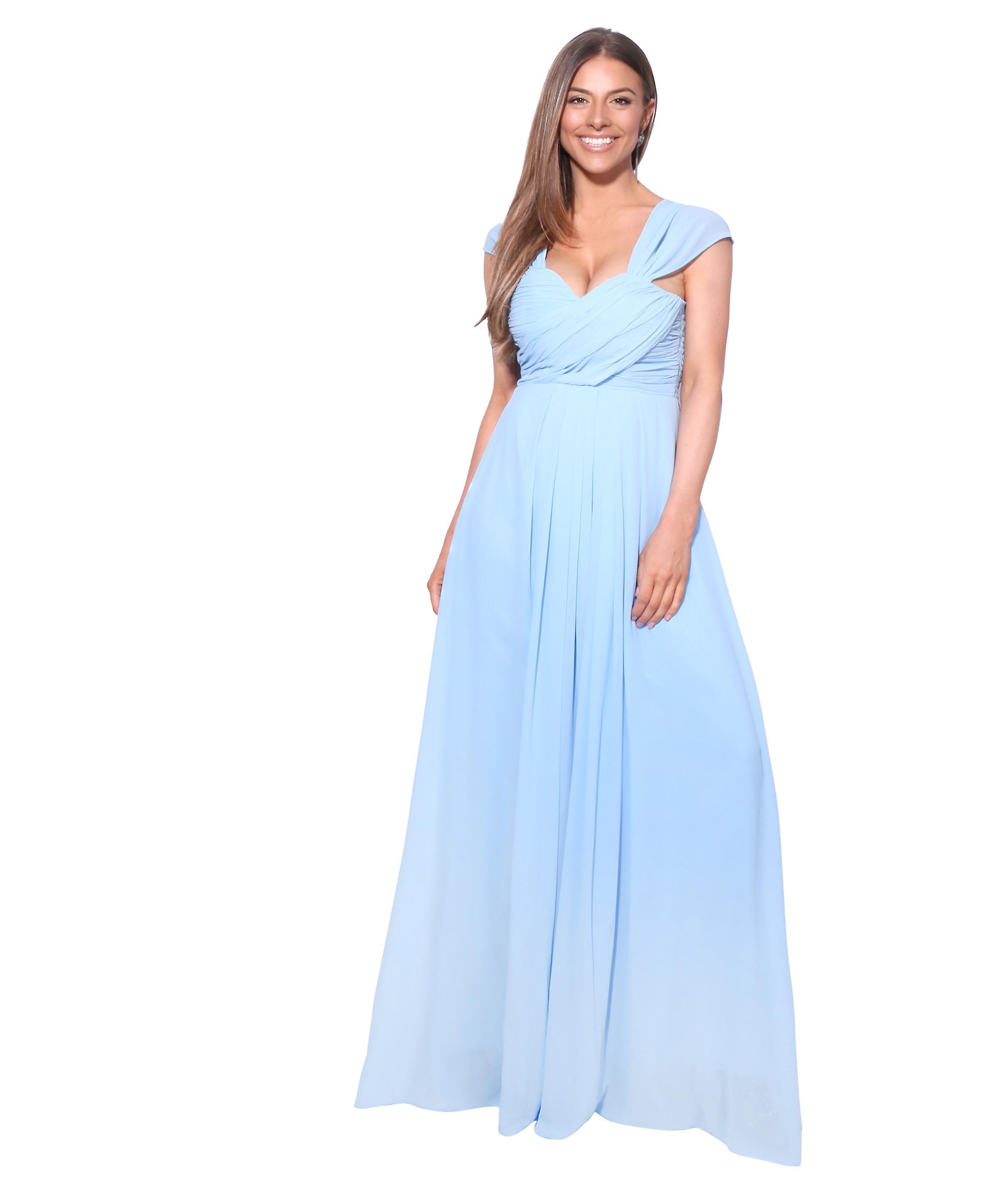 KRISP Damen Chiffon Spitze Braut Brautjungfer Sommer Hochzeit lange Maxi  Kleid Kleid 18-18