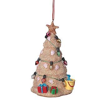 Kust zand sculptuur boom met ornamenten en decoraties kerst Ornament