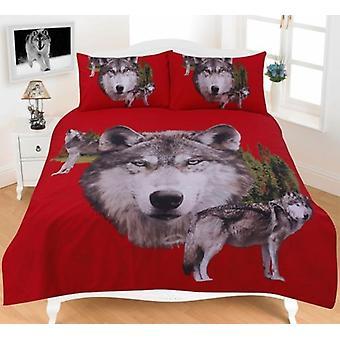 Animal print ulv 3D Effect dyne quilt Cover sengetøj sæt pude tilfældet i farver