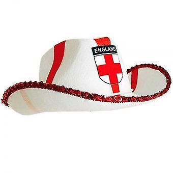 Union Jack usar sombrero de vaquero de la Cruz de St George de Inglaterra