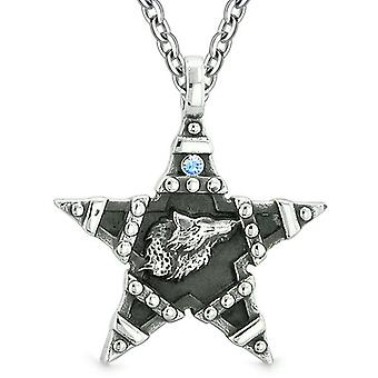 Howling Wolf Magic Super Star Pentacle Powers Amulet Sky Blue Austrian Crystal Pendant Necklace