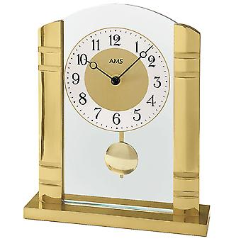 AMS table clock pendulum clock quartz clock with pendulum metal case with aluminium dial
