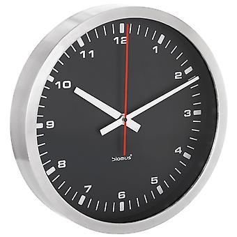 Modern wall clock by Blomus stainless steel matte black dial quietly without ticking ø 40 cm
