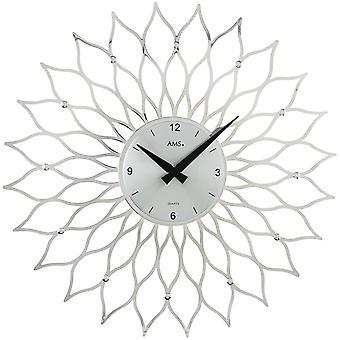 Kvarts vegg klokke kvarts design blomst i plast sølvfarget metall ringer