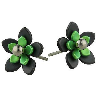 Ti2 Titanium Black Back Five Petal Flower Stud Earrings - Fresh Green