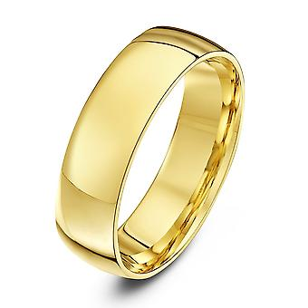 Star Wedding Rings 18ct Yellow Gold Light Court Shape 6mm Wedding Ring