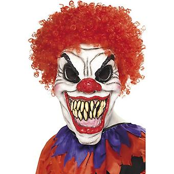 Scary Clown Mask, Red Hair, Foam Latex, One Size
