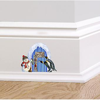 Full Colour Blue North Pole Elf Door Wall Sticker