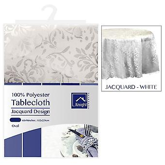 60X90Inches Table Polyester ovale couvrir motif Jacquard blanc