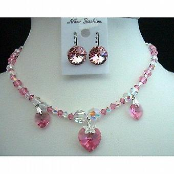 AB Crystals & Rose AB Swarovski Crystals Heart Pendant Necklace Set