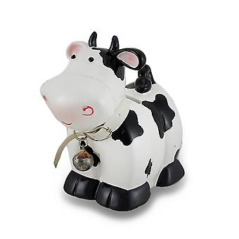 Black and White Cow with Bell Coin Bank