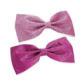2 pink glitter chlidrens bow hair clips