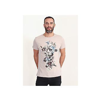 Religion Hand Drawn Flower Skeleton T-shirt
