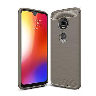 Motorola Moto G7 TPU case kolfiber optik borstad skydd täcka grå